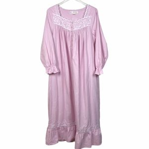 Eileen West Long Flannel Nightgown Pink Small